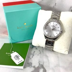 Kate spade silver watch w box and extras